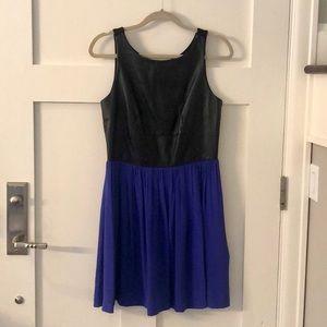 Amanda Uprichard Leather Bodice Silk Dress